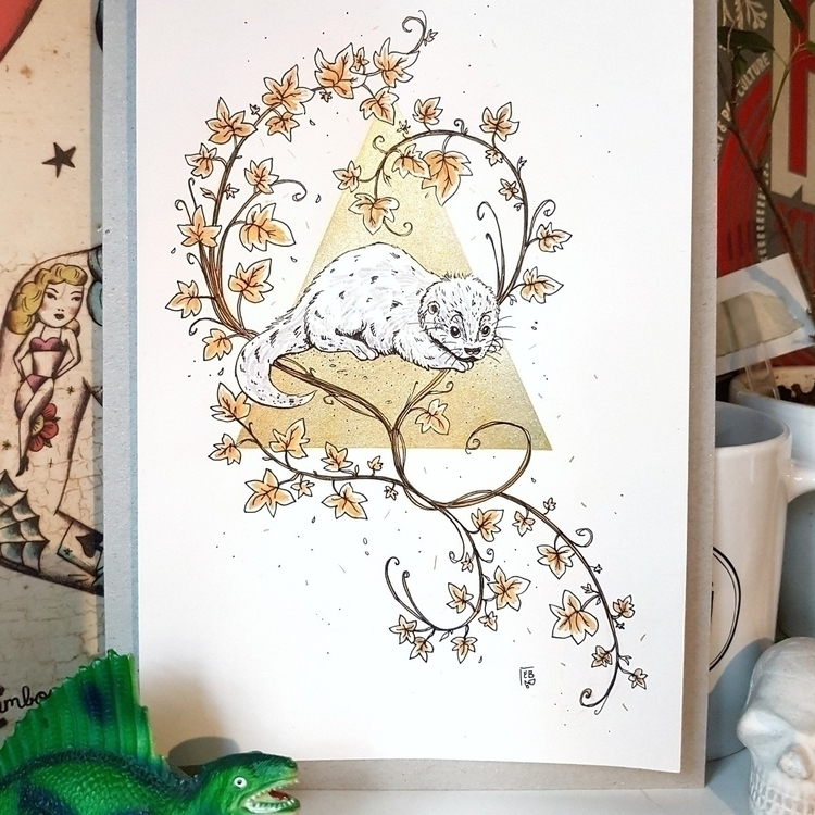 Baby otter commission  - illustration - elleabird | ello