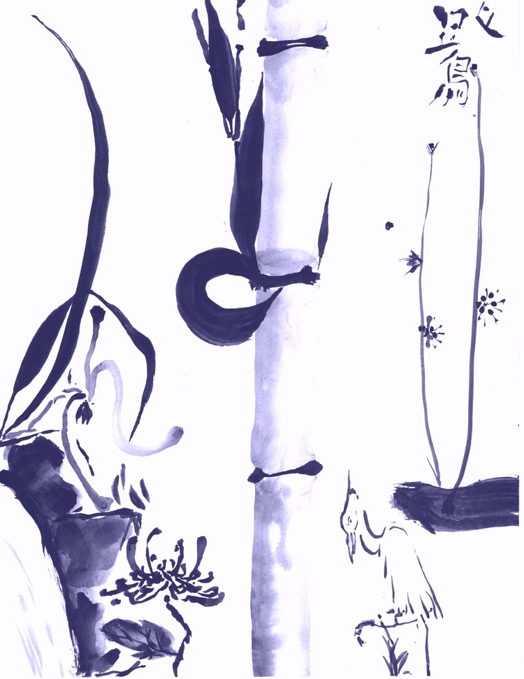 Noble Blue heron, Sumie, $30, 8 - clan_morrison_art | ello