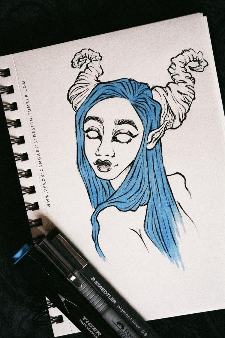 demon, illustration, girl, copic - veronicamg_illustration   ello