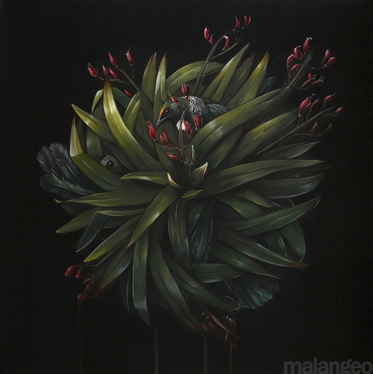 Flax Feathers Nectar Oil Canvas - malangeo | ello