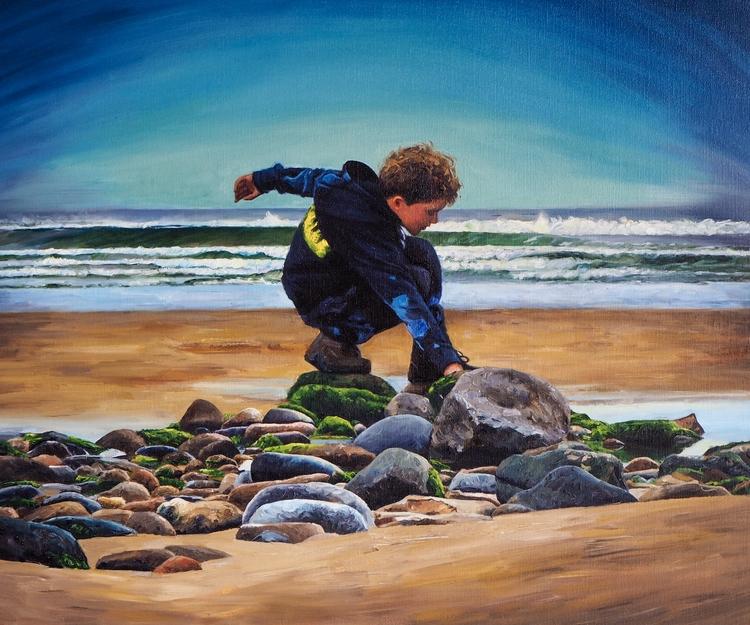 Boy Playing 22x20 Oil Linen - painting - danbullockart | ello