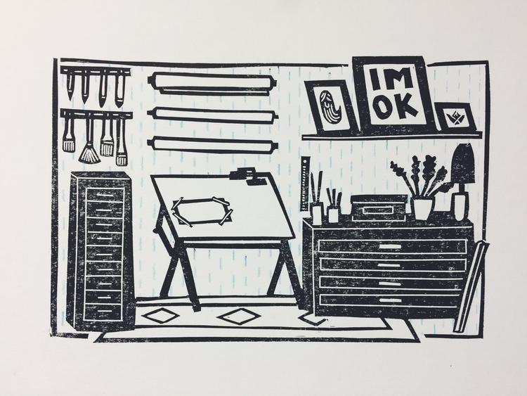 studio - art, artstudio, lino, linocut - studiomalu | ello