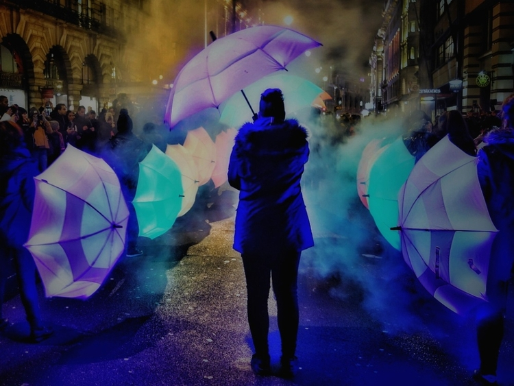 Umbrellas Lumiere London - flaneur_with_a_camera | ello