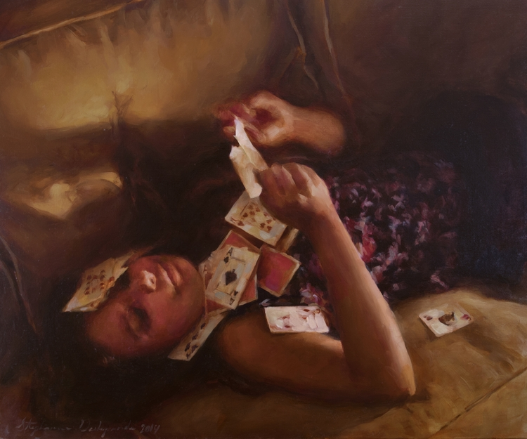 Cards Fall, Oil Linen, 20x24 - stephaniedesh | ello