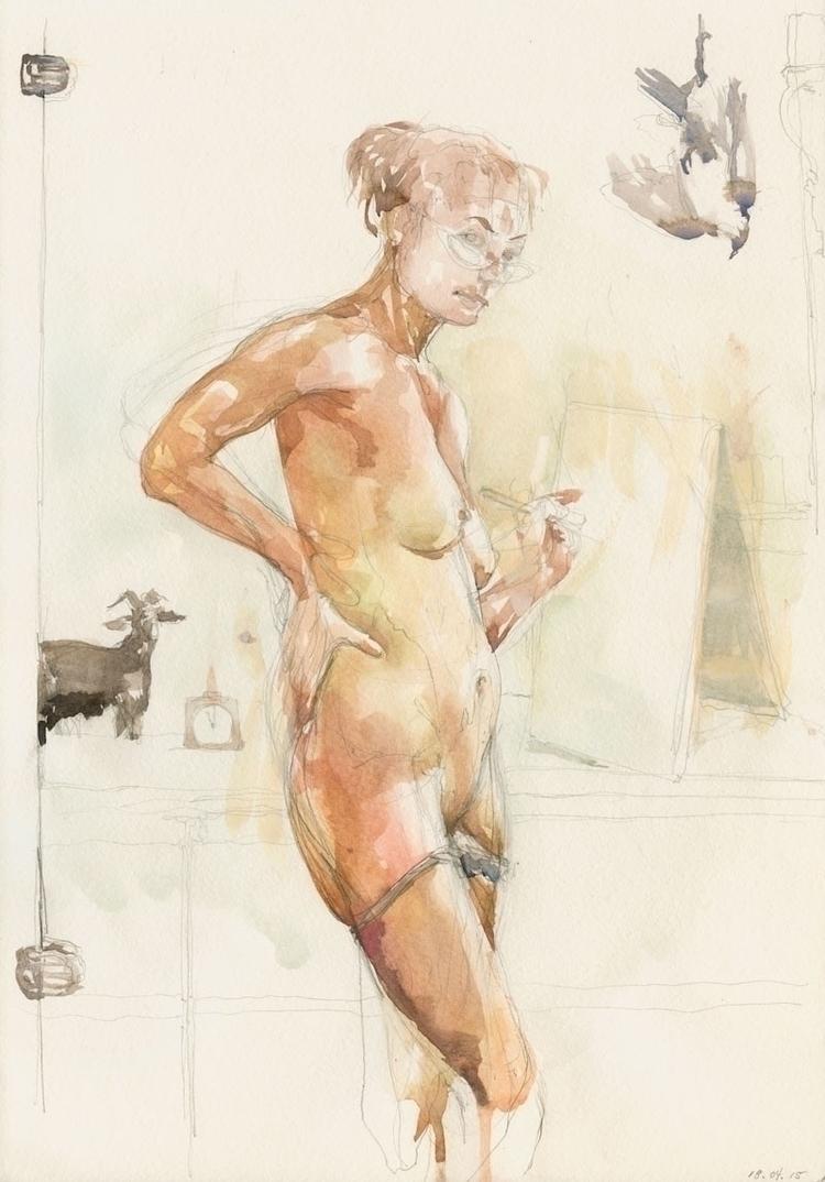 Parmigianino Selfie watercolor  - lauratan | ello