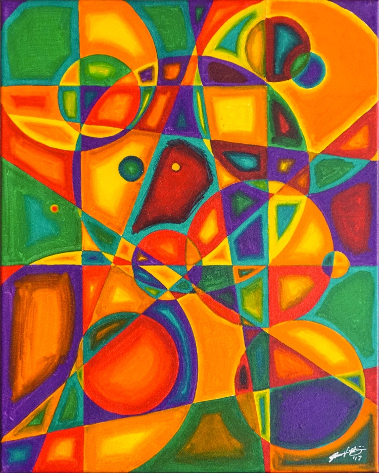 Geometric Abstract Acrylic Canv - roberthinojosa | ello