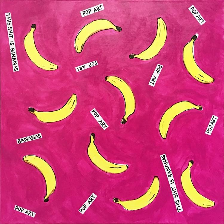 Shit Bananas. Acrylic. 24x24 - bananas - lizkellyzook | ello