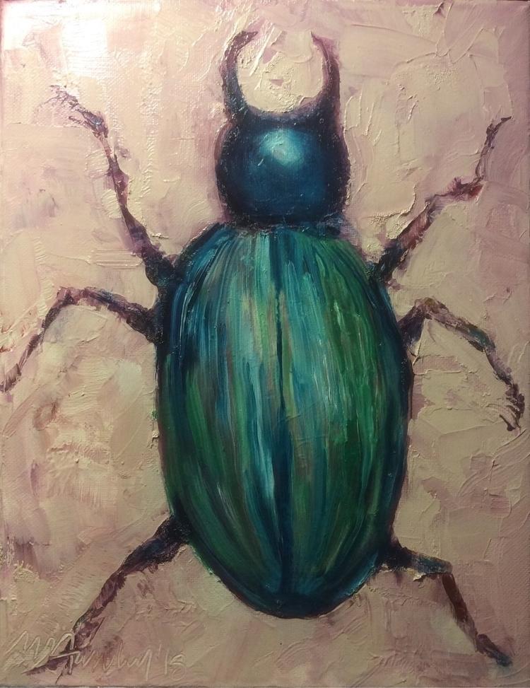 Jade Horned Beetle 2018 MHanley - maggiehanley | ello