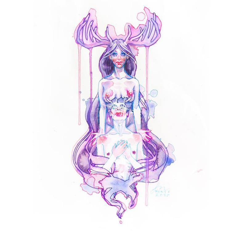 1) 11 14; Muse; ink watercolor  - stephaniemonty_art   ello