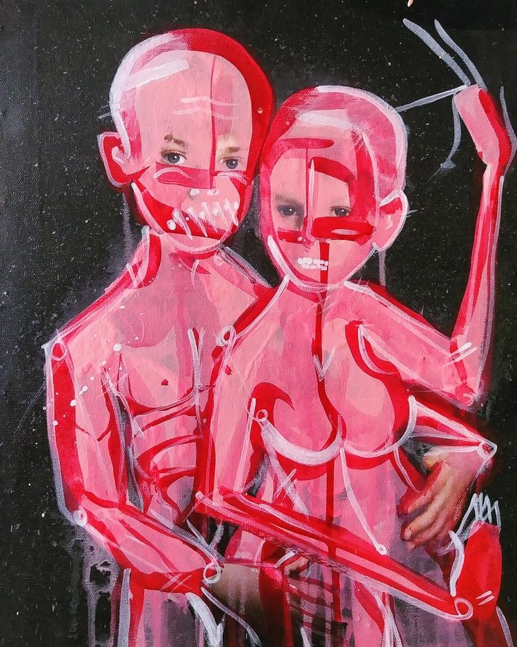 Mixed media canvas 18x20 - AnthonyFuentesArt - furfountains | ello
