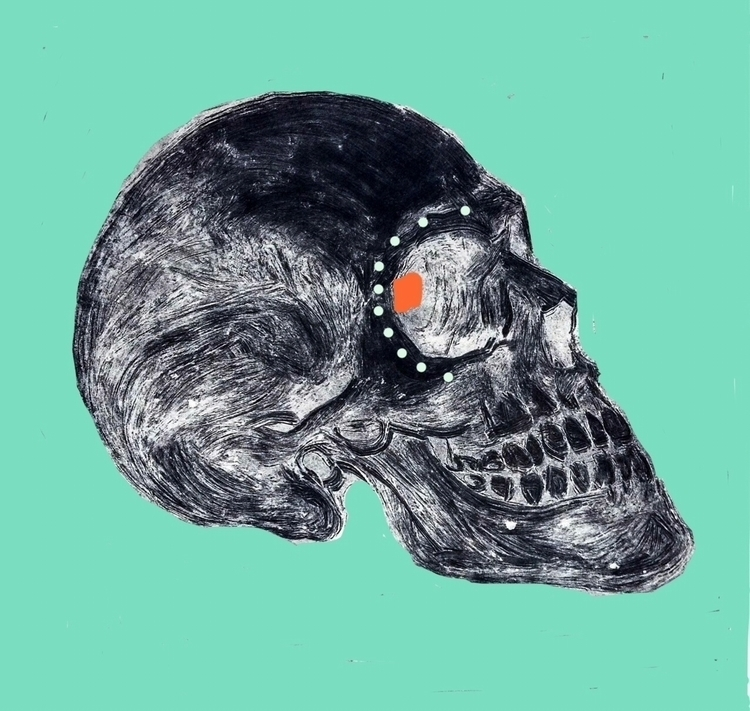 Ink washi digital drawing - skull - greeksauce | ello