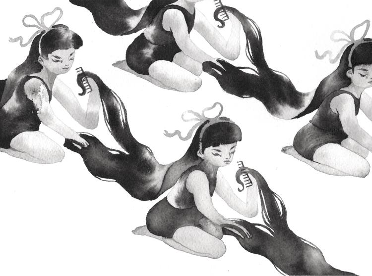 Combing Hair - illustration, elloart - nicolexu | ello