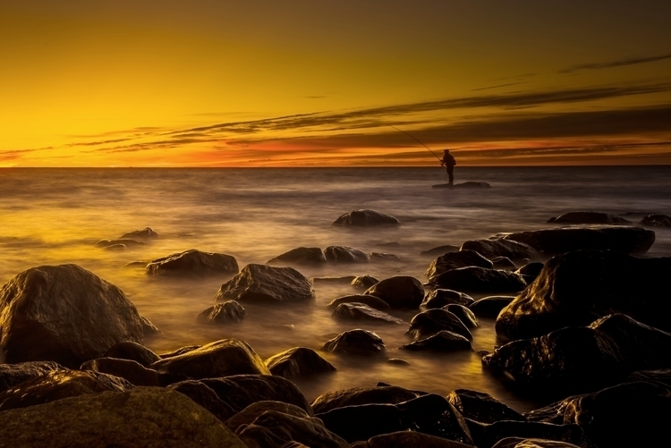 sunrise, fishing, sea, sky, fisherman - hoovertung   ello