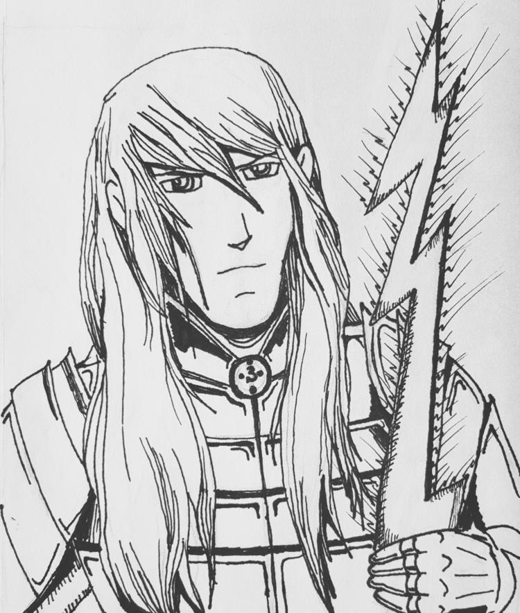illustration, inkdrawing, anime - pegasus_lightning | ello
