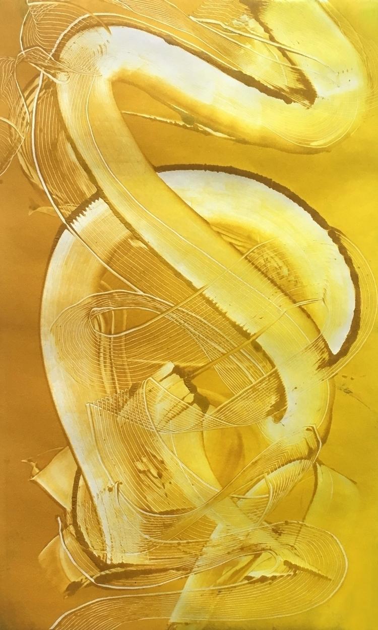Ochre yellow fade monoprint Sub - aulku | ello