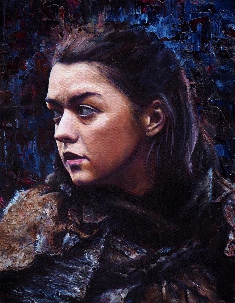 Arya Stark Oil Linen 9.5x12 - portrait - danbullockart | ello