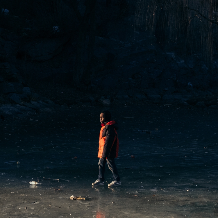 Harlem kid playing frozen lake - jmsaponaro | ello