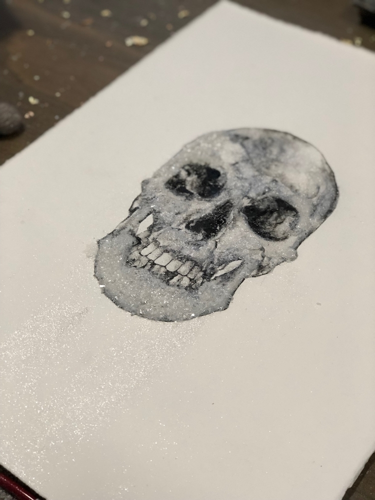 skull painting - ink, inkpainting - alexakarabin | ello