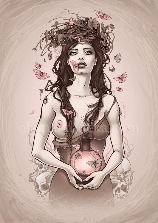 Pink Lantern - woman, girl, nude - aleksandracupcake | ello