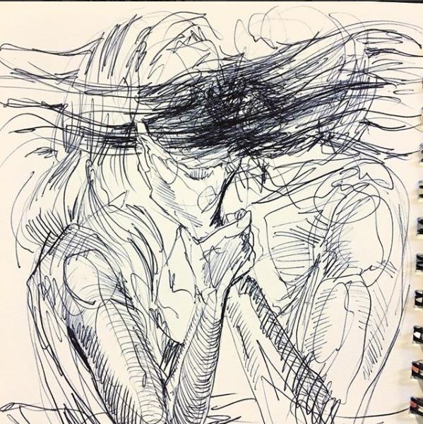 sketchbook, art, penandink, lovers - blflood | ello