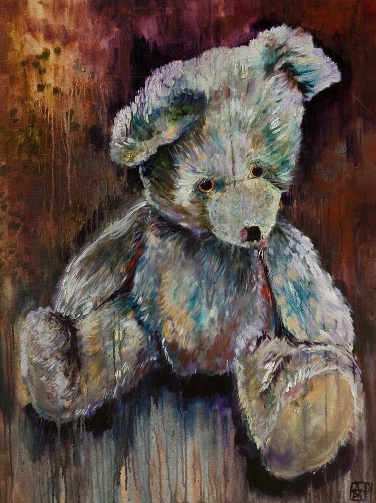White Vintage Teddy Bear Rust C - andrewpagana | ello