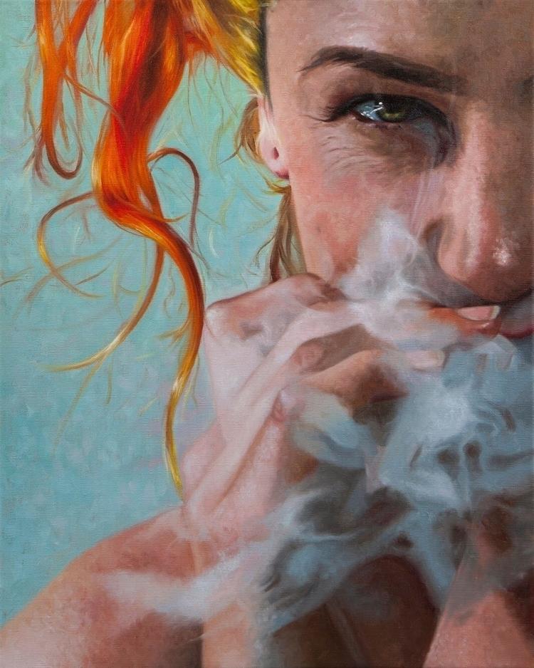 """Smoking Dragon"" - 20""x16"" oil  - nadinerobbinsart | ello"