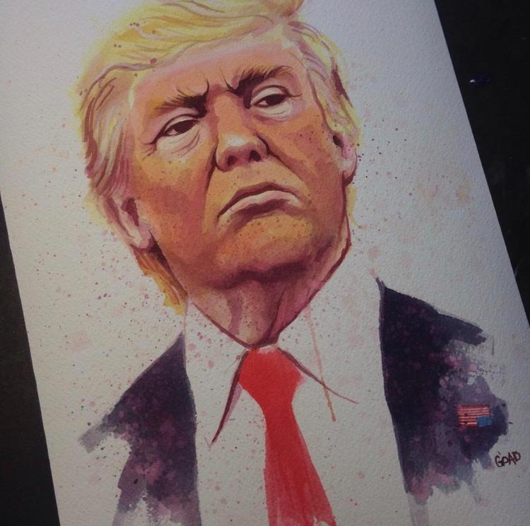 "Trump ""Agent Orange"" watercolor - vincentvangoad | ello"