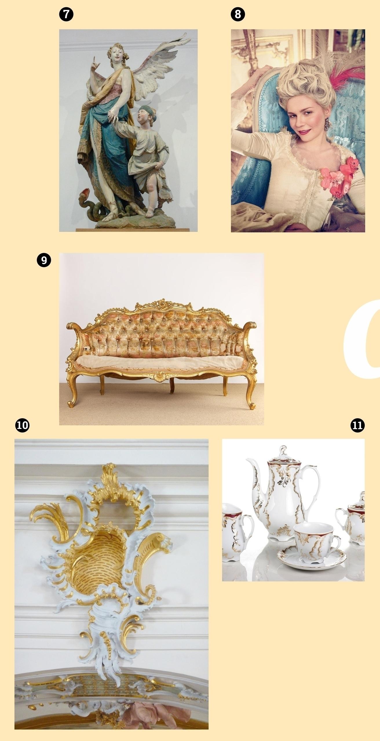 Obraz przedstawia pięć zdjęć na jasnobeżowym tle. Widzimy rzeźbę, kanapę w stylu rokoko, aktorkę, porcelanowy dzbanek, ornament biało-złoty.