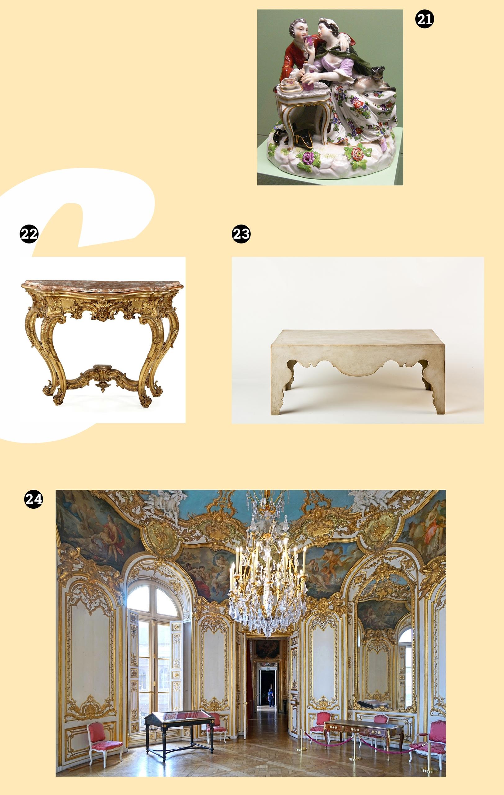 Obraz przedstawia cztery zdjęcia. Widzimy stoliki, figurkę z porcelany i wnętrze pałacu w stylu rokoka.