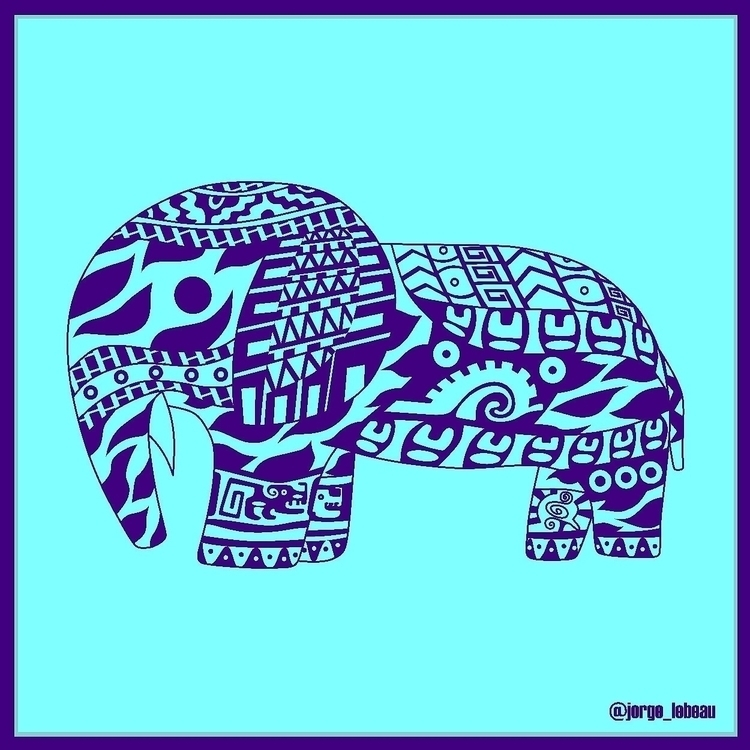 Blue Elephant. mexican patterns - jorge_lebeau | ello