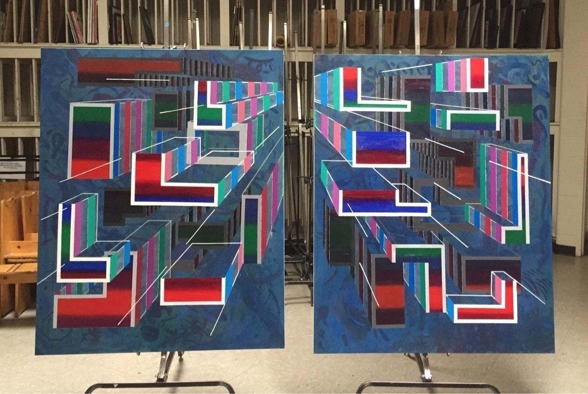 Acrylic canvas. 3x4' diptych - deeseart | ello