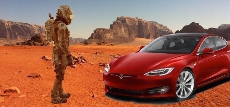 Rover Red Tesla landing Mars, o - ccruzme   ello