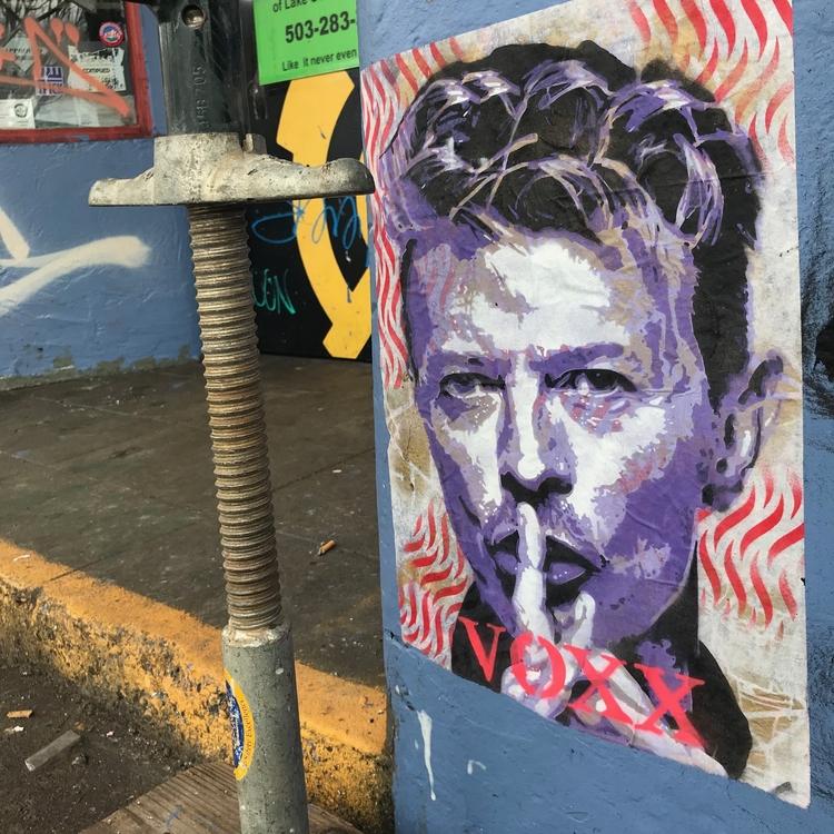 David Bowie stencil pasted PDX - voxxromana | ello