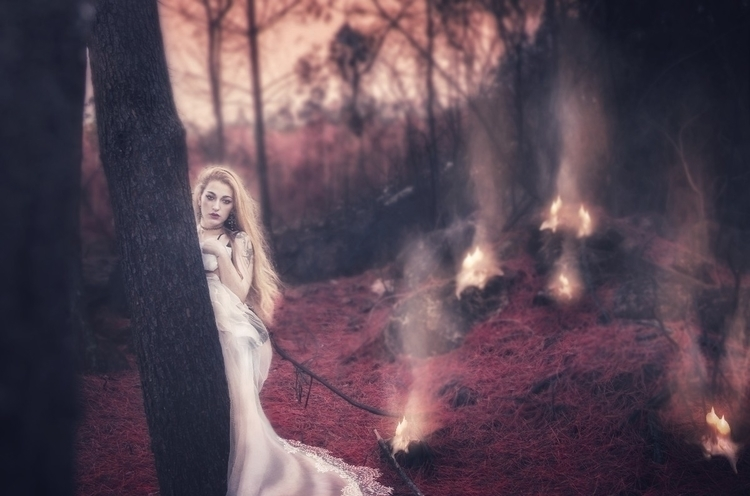 portrait, fire, photography, model - missacidland | ello