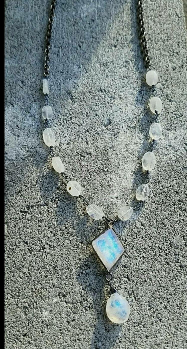 lolafaejewelry, moonstone, moonstonenecklace - lolafaejewelry | ello