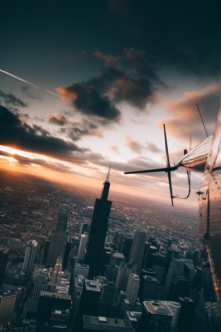 Winter Sunset - moody, sunset, chicago - opticlegacy | ello
