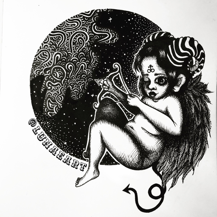 Lil cherub bby 🖤 - illustration - lunaeart | ello