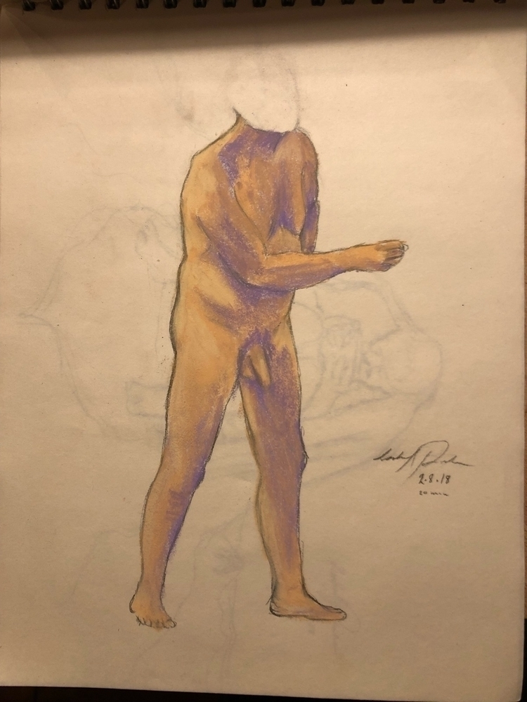 Life drawing - pastel, pencil, purple - izzyvp | ello