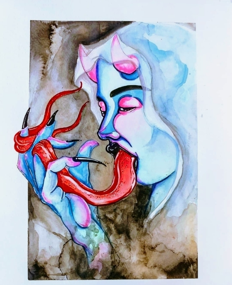 Tongue Lash - watercolor, illustration - hag_attack | ello