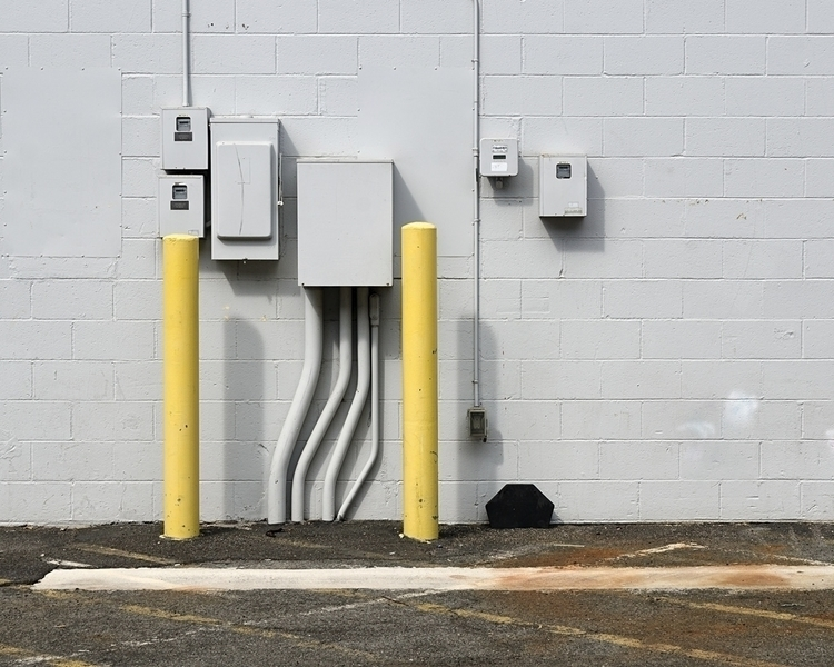 Electrical boxes, yellow poles  - shanesakata | ello