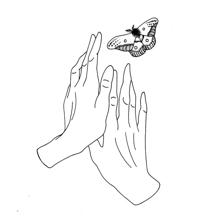illustration, moth, hands, cosmicslut - cosmicslut | ello