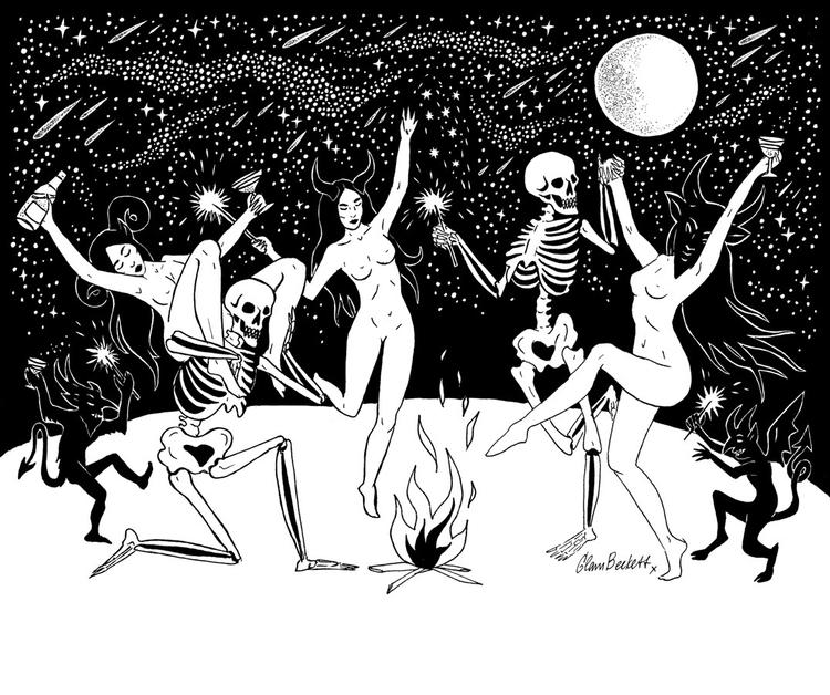 Danse Macabre - drawing, ink, black - glambeckett | ello