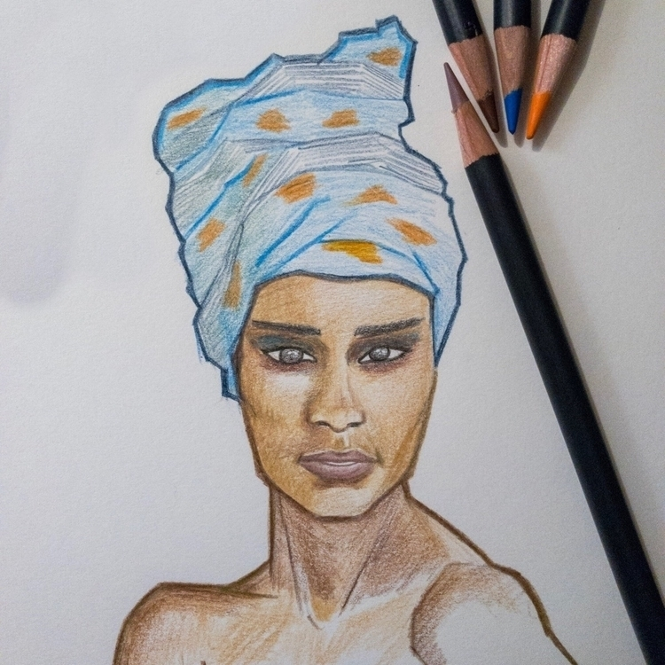 Head wrap color pencils - illustration - mariosupa | ello