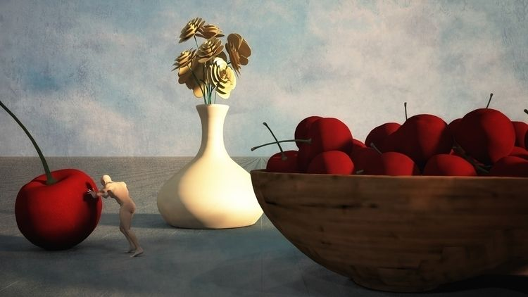 Bowl Cherries - art, illustration - alanbrownone | ello