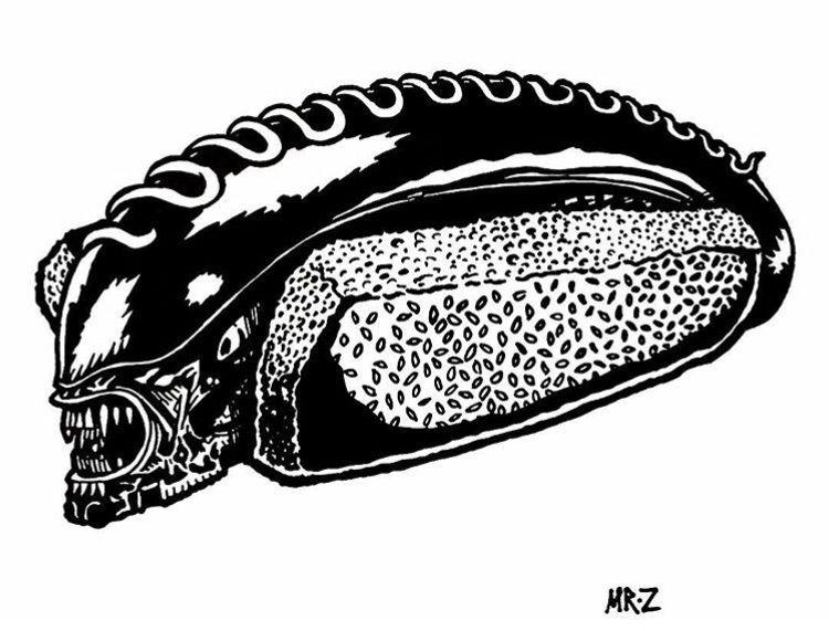 Xenomorph-Dog -Ink paper - illustration - deathcave   ello
