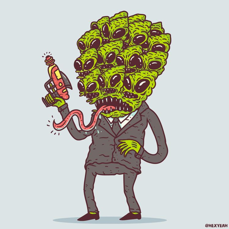 Agent Alien - illustration, doodle - hex_aunzo | ello