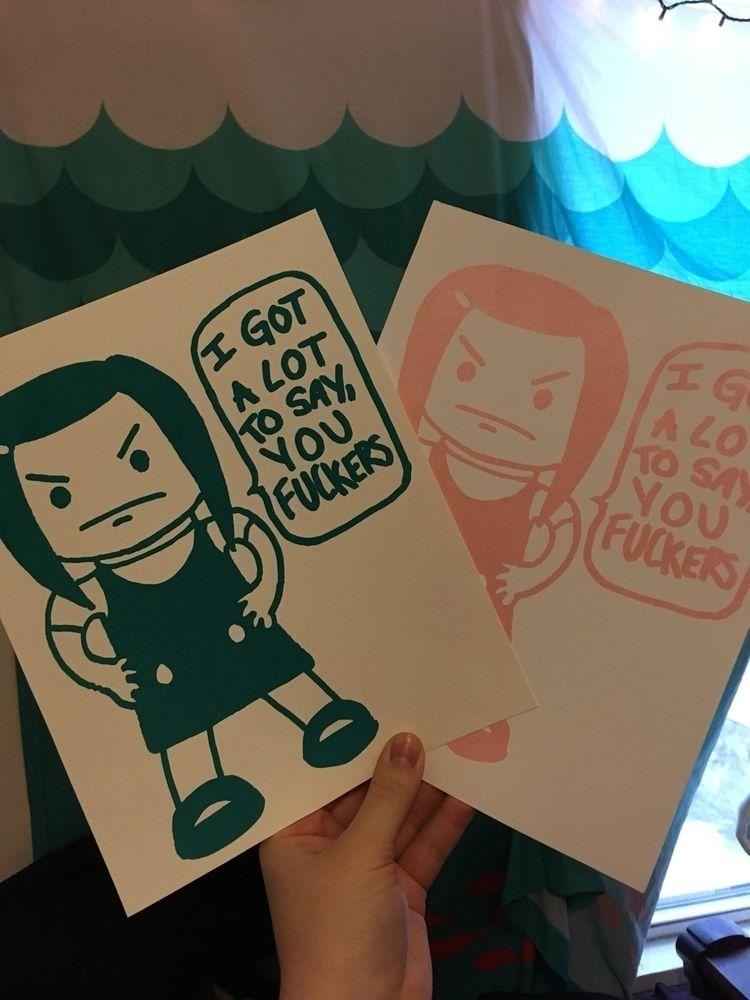 prints! screenprinted angry gir - liztonicedtea | ello
