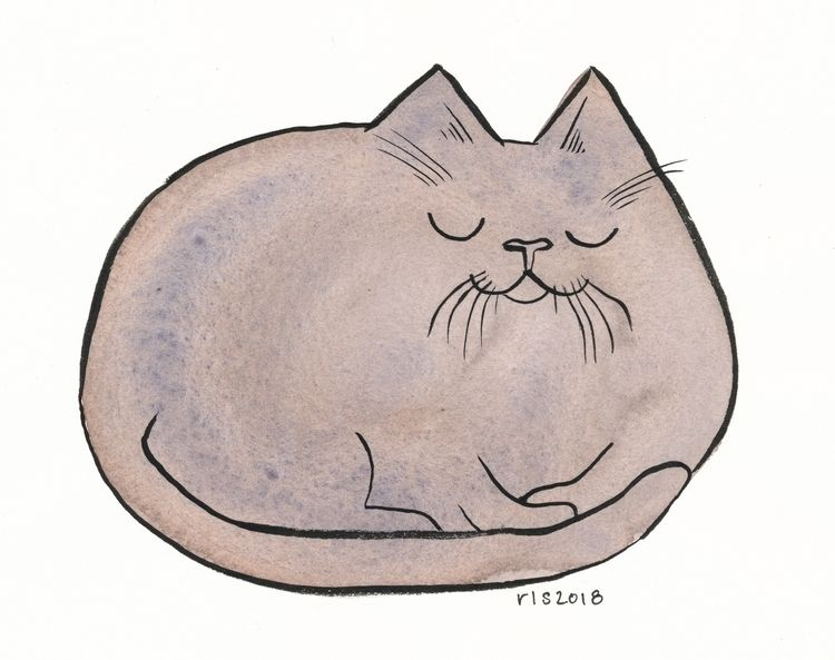 Sleepy lump kitty - watercolor, art - reneeleigh | ello