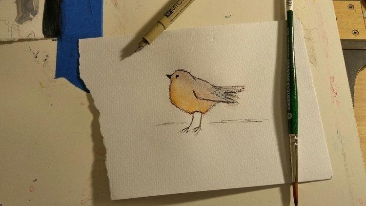 Mondays birds - watercolor, mondaymood - amyliabdla   ello