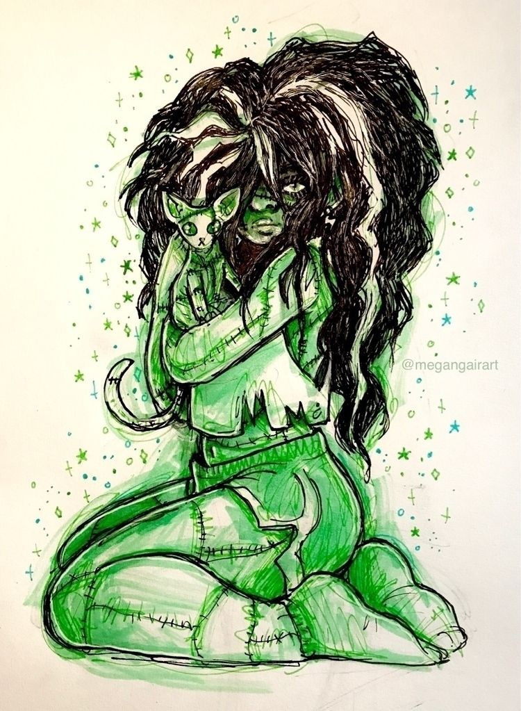 illustration inktober:green_hea - megangairart | ello